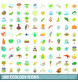 100 ecology icons set cartoon style vector image