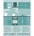 Kitchen flat interior design template vector image