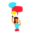a girl with comic bubbles does selfie the girl vector image vector image