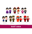 asians in national clothes east asia vector image