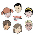avatars retro children set of six 40s or 50s vector image