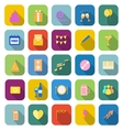 Birthday color icons with long shadow vector image vector image