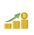 bitcoins with green arrow vector image vector image