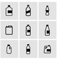 black bottles icon set vector image vector image