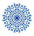 blue and white floral round vector image vector image