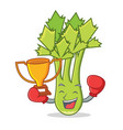boxing winner celery mascot cartoon style vector image vector image