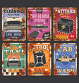 car service and auto wash posters with rust vector image vector image