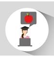character graduation apple online education vector image vector image