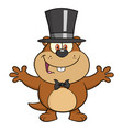 Cute marmot character with open arms