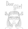 deer girl coloring page cute girl black line vector image