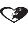 europe and heart vector image vector image