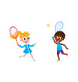 flat children playing badminton shuttlecock vector image