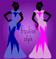 girl in blue dress girl in a separate dress vector image