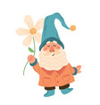 gnome with flower cute garden dwarf in vector image vector image