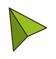 Green paper plane isolated flat icon vector image