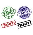 grunge textured tahiti stamp seals vector image vector image