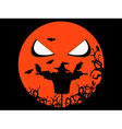 Halloween scary scarecrow ravens and bats vector image vector image