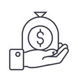 hand with money bag linear icon sign symbol vector image vector image
