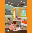 kids playing with tablet pc in the living room vector image vector image