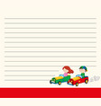 line paper template with kids in racing cars vector image vector image