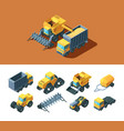 machines agricultural isometric set vehicles vector image vector image