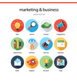 marketing and bisiness icon set vector image
