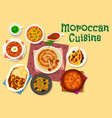moroccan cuisine traditional dishes icon design vector image vector image