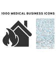Realty Fire Disaster Icon with 1000 Medical vector image