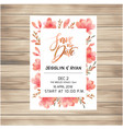 save the date wedding invitation card with pink fl vector image vector image