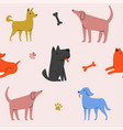 seamless pattern with cute cartoon style dogs vector image
