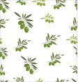 seamless pattern with green olive tree branches vector image
