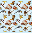 seamless pattern with hand drawn colored wild west vector image