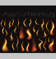 set flame fire smoke and burning sparks vector image vector image