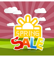 Spring Sale Background with Sun Meadow Hills Sky vector image vector image