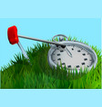 stopwatch on grass vector image vector image