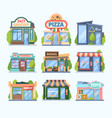 stores and market set facade colored shops vector image vector image