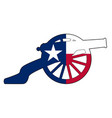 texan flag with civil war cannon silhouette vector image vector image