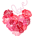 the heart roses vector image