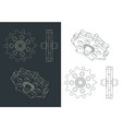 toothed gear for chain drive drawing vector image vector image