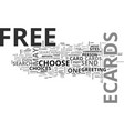 why free ecards text word cloud concept vector image vector image