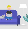 young freelancer working at home flat editable vector image