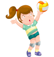 young girl playing volleyball vector image vector image