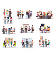 set of business meeting in cartoon style flat vector image