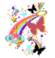 butterfly and star pattern vector image
