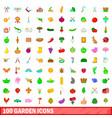 100 garden icons set cartoon style vector image vector image