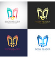 abstract 3d book reader logo template for your vector image vector image