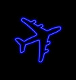 airplane neon sign bright glowing symbol on a vector image