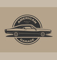 american muscle car supercar garage logo vector image