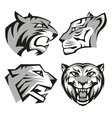 Black and grey tiger head logos set for business vector image vector image