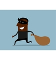 Black thief running with sack of loot vector image
